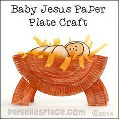 Craft Natale - Artigianato Piastra Manger di carta con Gesù Bambino da www.daniellesplace.com