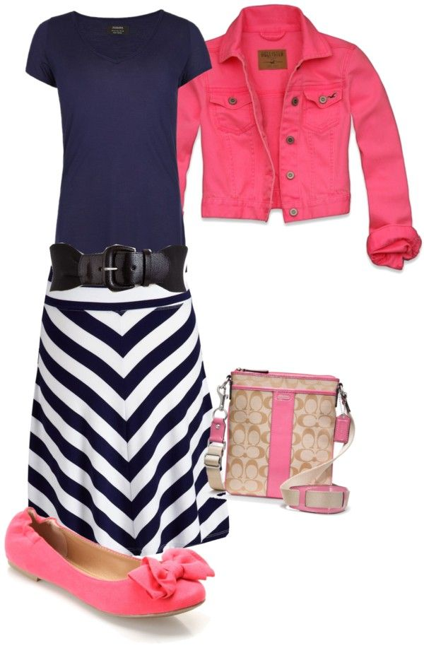 """Navy Blue & Pink"" by sandy-simmons ❤ liked on Polyvore"