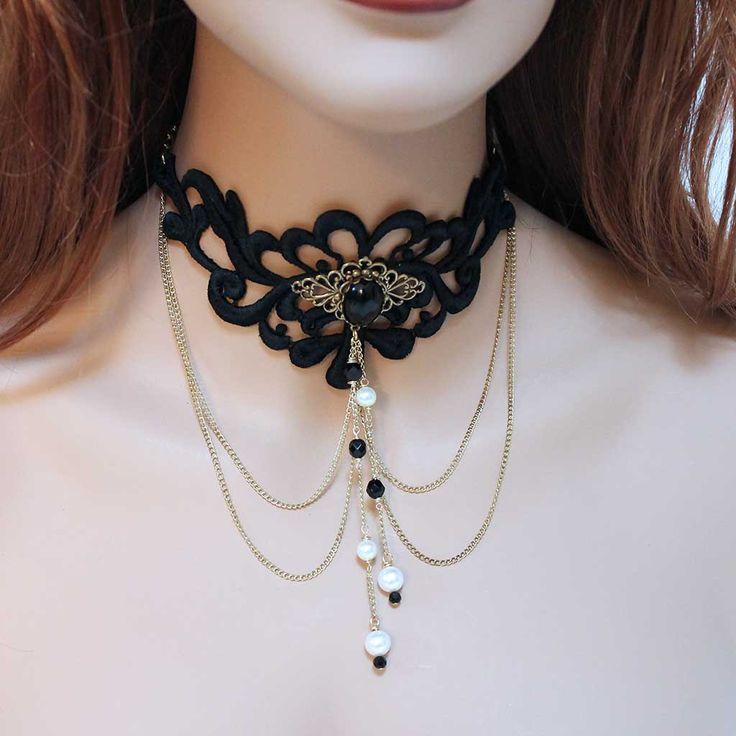 Black Lace Victorian Goth Choker Necklace