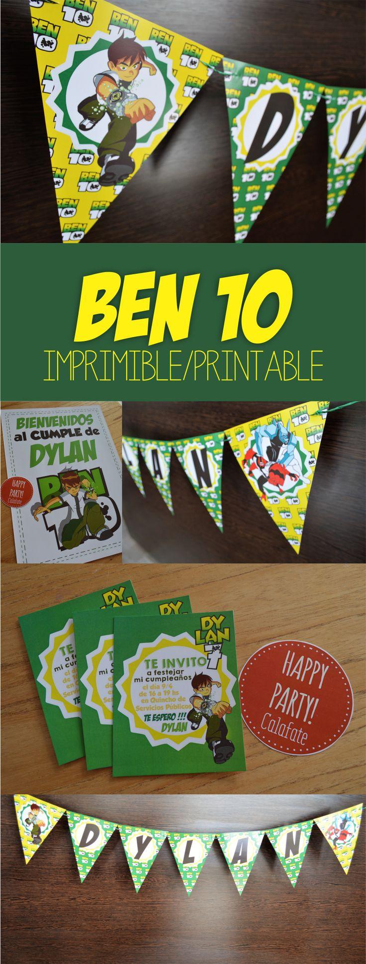 Ben 10 imprimible. Printable Ben 10. Fiesta. Party.