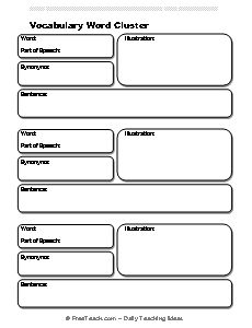Worksheet Vocabulary Worksheet Template 1000 images about vocabulary general on pinterest heres a template for word cluster that includes space the word