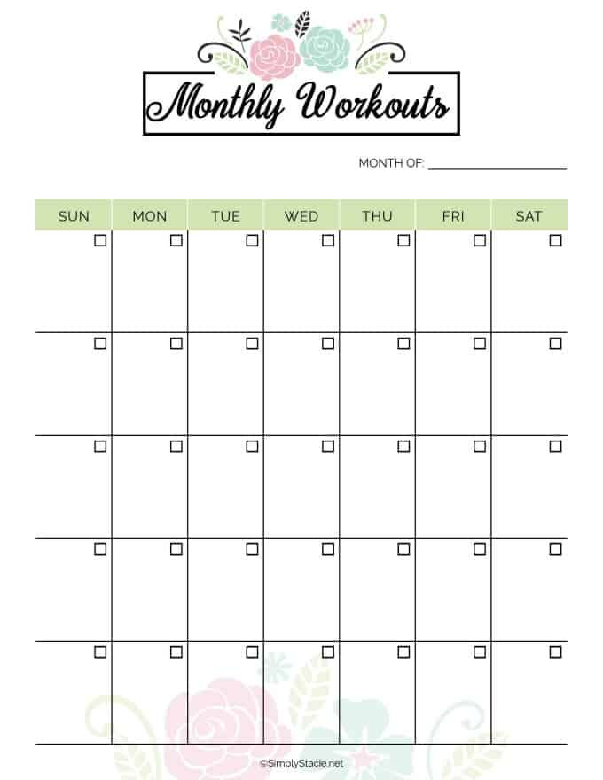 Gutsy image for printable workout planner