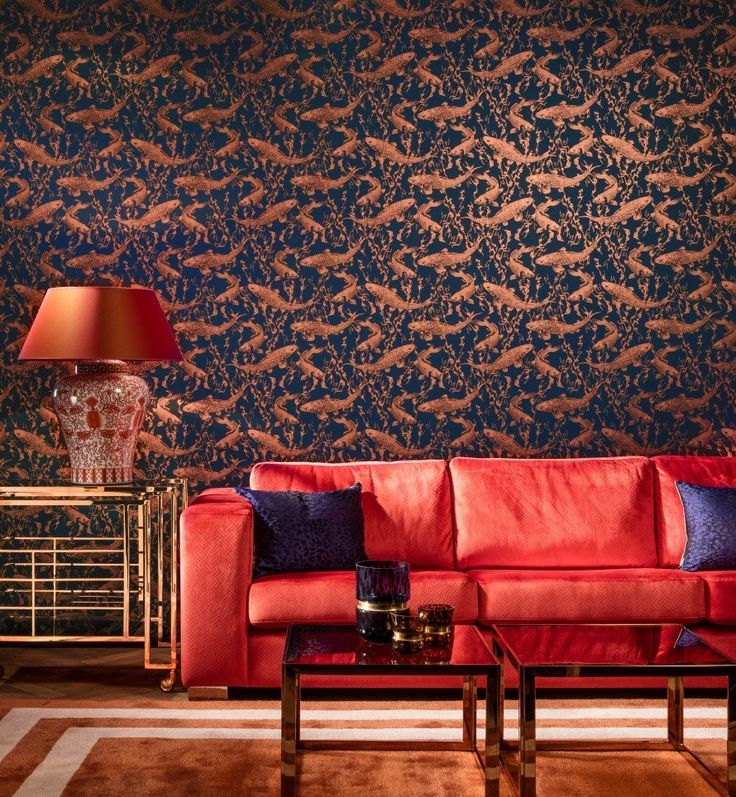 Hidden Treasures wallpaper ref: 70013 | koi carp in metallic orange on a dark blue background.