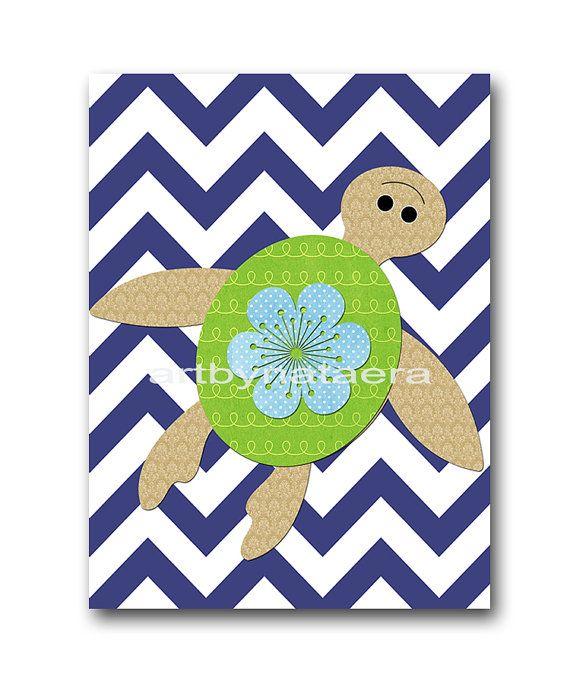 Turtle Baby Boy Nursery art print Childrens Wall by artbynataera, $14.00