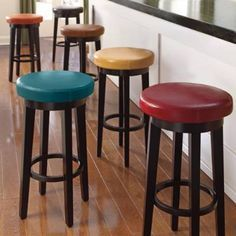 "use 3 different color stools for the music area.. Small footprint (16"" diameter) Plus, they swivel!"