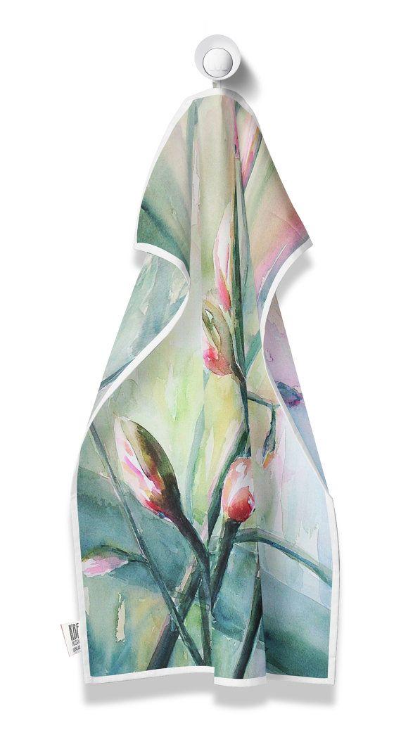 Tea Towel with floral watercolour by PeachyArtandTreasure on Etsy