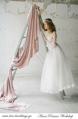 Tulle full skirt with chantillie lace cropped top