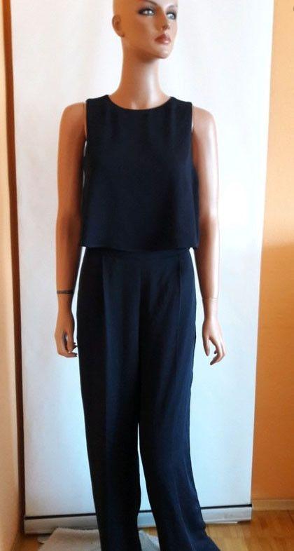 BNWT Zara navy dark blue Layered Cross Open Back Wide Leg Jumpsuit Size M #Zara #Jumpsuit