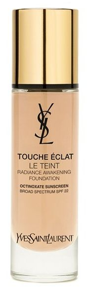 Love the Yves Saint Laurent 'Touche Éclat Le Teint' Radiance Awakening Foundation! New formula with more flawless coverage than ever before. Enriched with the stimulating power of ruscus extract, the anti-fatigue formula energizes skin by stimulating micro-circulation and targeting dullness to instantly improve skin brightness and luminosity. Vitamin E protects against free radicals. The weightless foundation leaves you with eight hours of a fresh, radiant complexion.