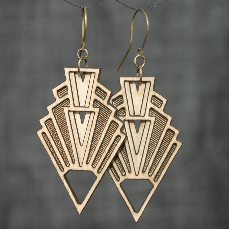 VISION | art deco earrings, art deco inspired earrings, arrowhead dangle earrings: laser cut wood earrings – Art nouveau