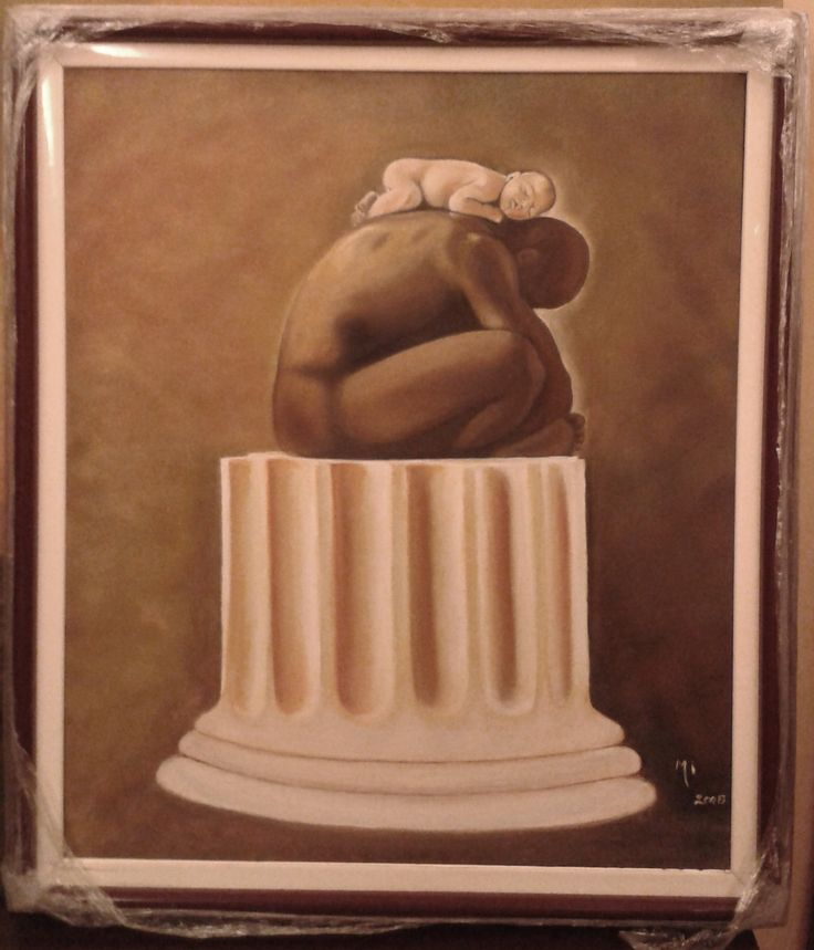 When I was 16 I offered my sister a postcard black and white of this photo. My sis loved it so much she still has it framed in her house!  So our mom decided to paint it but in sepia tone... Just wow!!!  - Oil on canvas FOR SALE