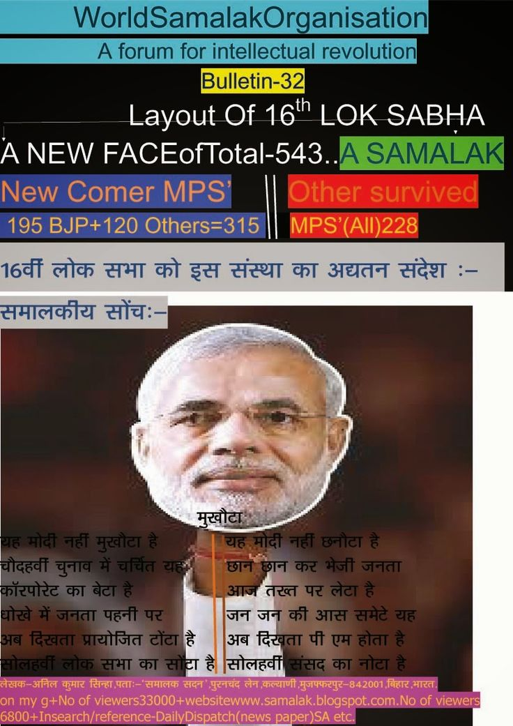 World Samalak Organisation: bulletin-32.....MUKHAUTA of MODI in2014 Election..Dear Citizen , you may correlate this blog with present by election results.