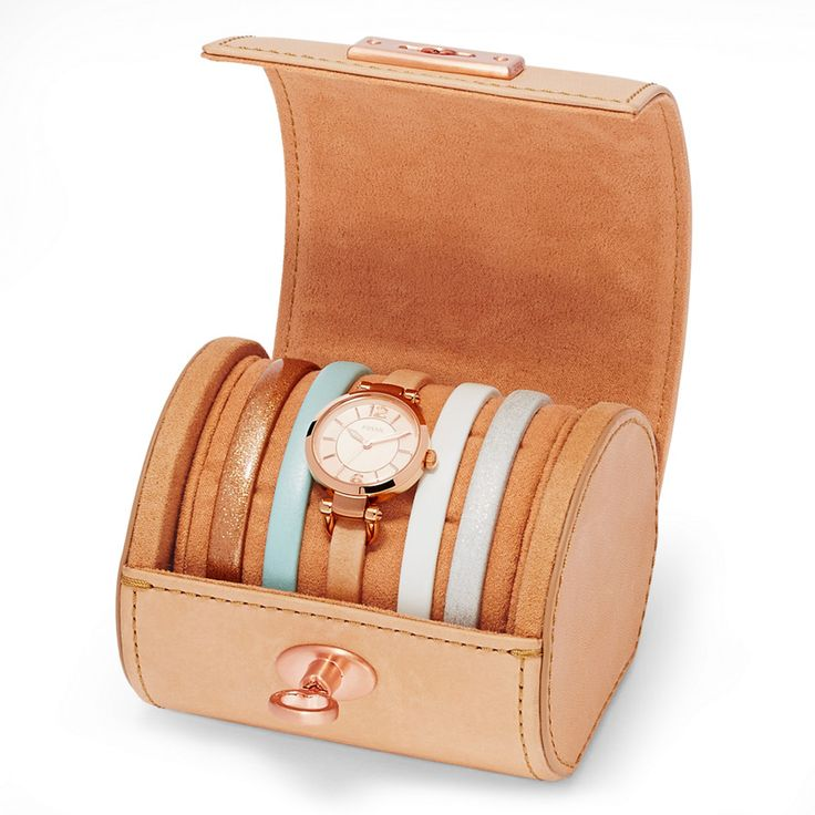 Fossil Georgia Three-Hand Leather Watch Set| FOSSIL® New Arrivals - I lLOVE the rose gold glitter strap!