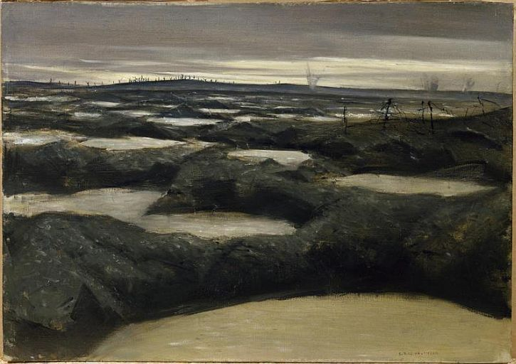 CWR Nevinson, After a Push, 1917 'The desolate shattered landscape, speaks powerfully of the bleakness of a war empty of meaning.'