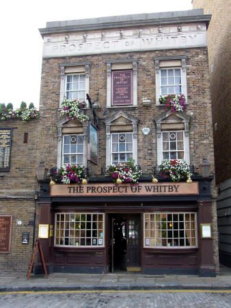 THE PROSPECT OF WHITBY, Wapping, thought to be the oldest surviving pub in London, built in 1520 in the reign of Henry VIII. It sits on the banks of the River Thames and has a lovely deck overlooking the river