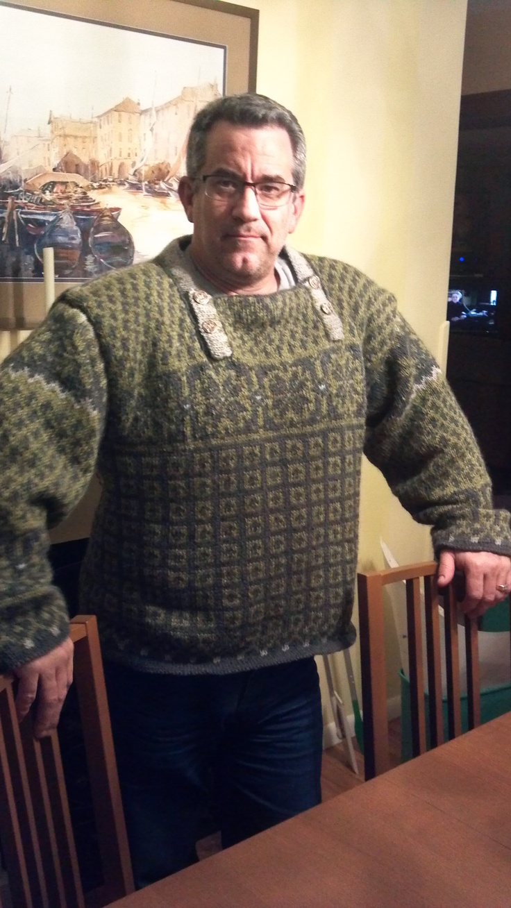 I just finished it! My new Norwegian sweater! As modeled by my husband Jeff!