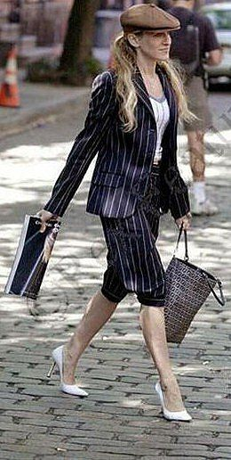 I adored Carrie Bradshaw in this English gentleman-type outfit, complete with baker boy hat.