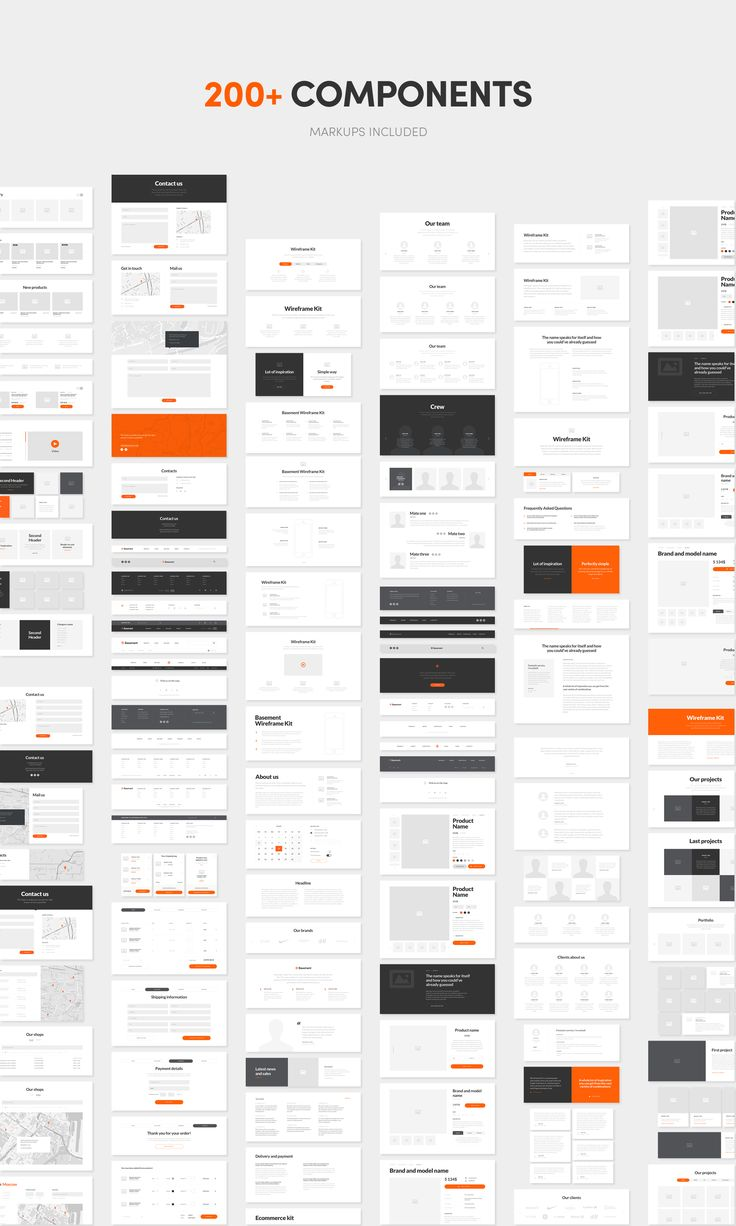 Recursos: Basement Wireframe Kit: 200+ Prototype Elements - Designmodo Market