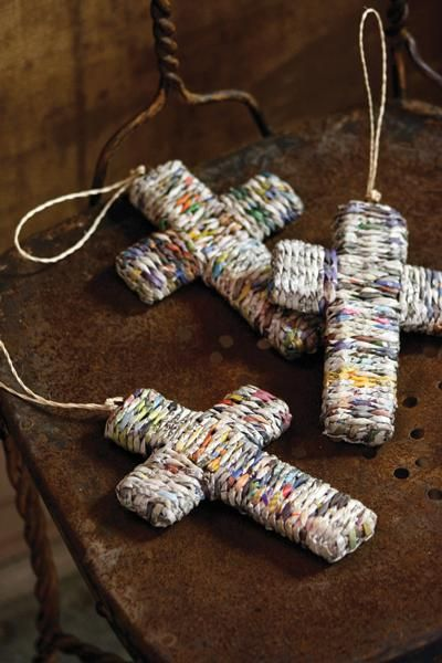 recycled newspaper cross ornament with hanger