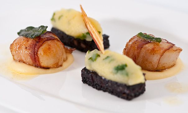 Scallops, black pudding, rumbledethumps & beurre noisette