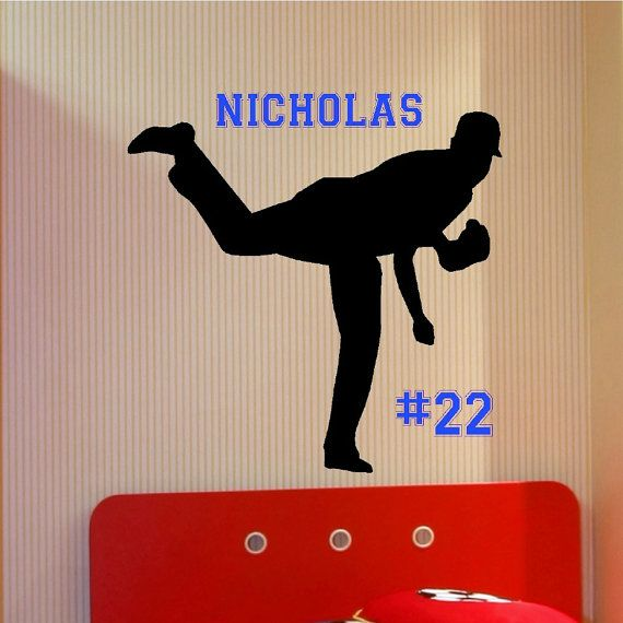 Personalized Baseball Pitcher Wall Decal Decor Art Sport Bedroom Teen