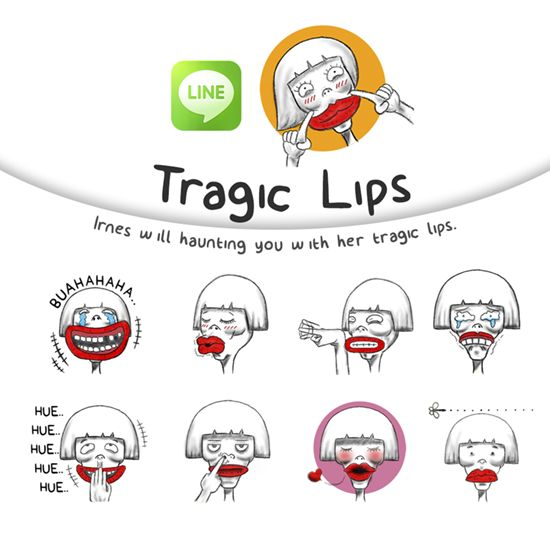 Irnes will haunting you with her tragic lips. http://line.me/S/sticker/1233120