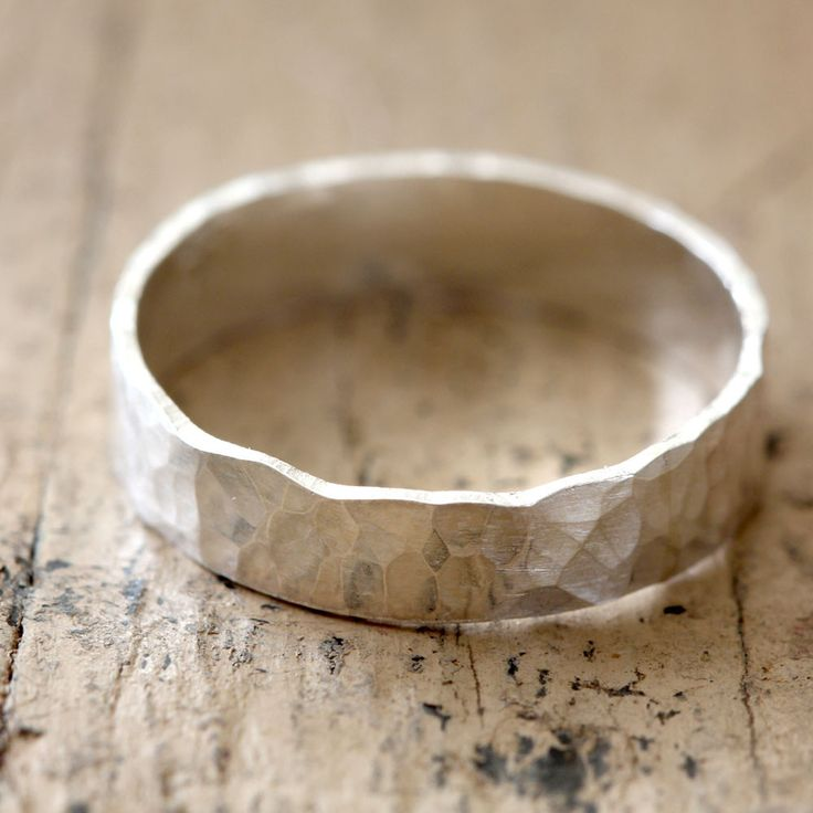 Narrow Hammered Wedding Ring Sterling Silver from Praxis Jewelry