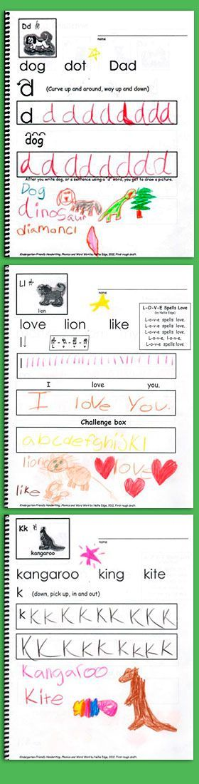 FREE template: http://nellieedge.com/pdf/2013/a-z-pages.pdf In Kindergarten-Friendly Handwriting we encourage quality work and differentiate handwriting instruction. It is equally as important to provide a creative challenge for the student who comes into kindergarten already reading and writing as it is to provide a framework that supports the less experienced learner. Build a scaffold of success for ALL children and let your proficient writers soar! | Kindergarten Handwriting Best…
