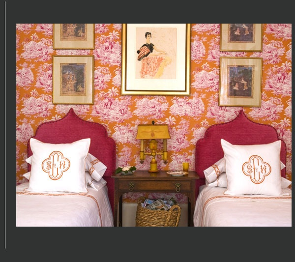 Guest Bedroom  Pink and Orange Toile, Leontine Linens, Moorish Style Headboards: Home Bedrooms, Girls, Guest Bedrooms, Color, Dream Bedrooms, Guest Rooms, Design, Bedroom Interiors