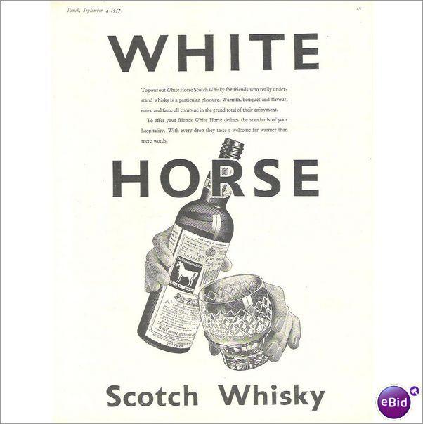 Original Vintage Advert 1957 WHITE HORSE WHISKY #1