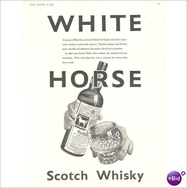 Original Vintage Advert 1957 WHITE HORSE WHISKY #1