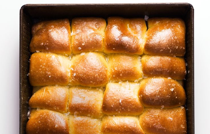 A top coat of melted butter and salt makes these dinner rolls irresistible.