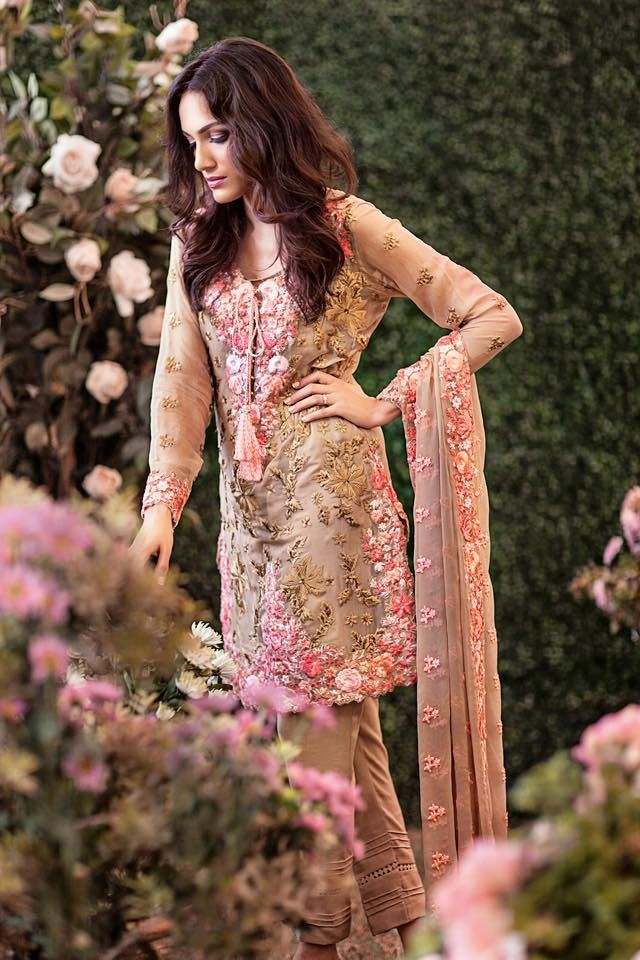 White Embroidered Chiffon Dress by Mina Hasan 2015. - Google Search