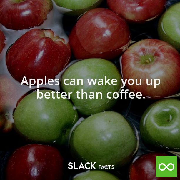Did you know Apples can wake you up better than coffee?  The benefits of an apple are amazing, since it contains fructose which is a natural sugar that can wake you up naturally and help keep you going.  #slackfacts #apples #fruits #health #coffee