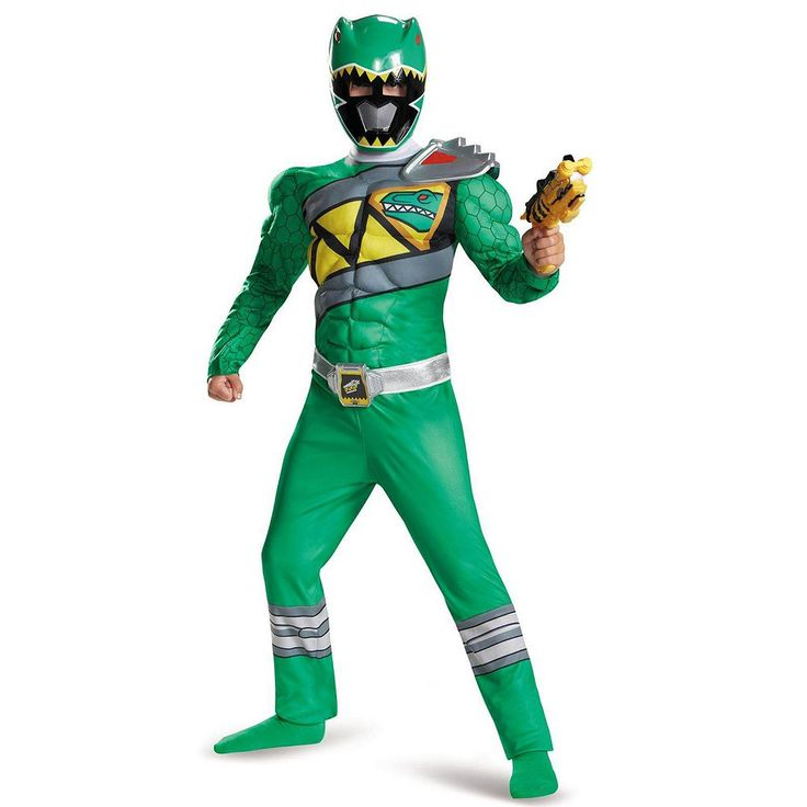 Kids Power Rangers Dino Charge Green Ranger Muscle Costume, Boy's, Size: 10-12