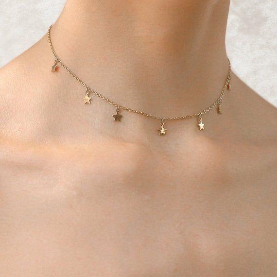 18 K Estrela de Ouro Gargantilha Colar Colar Delicado Estrela de Ouro Colar Em Camadas Gargantilha de Ouro Jóias Celestiais Presente para Ela   – Jewelry Necklaces