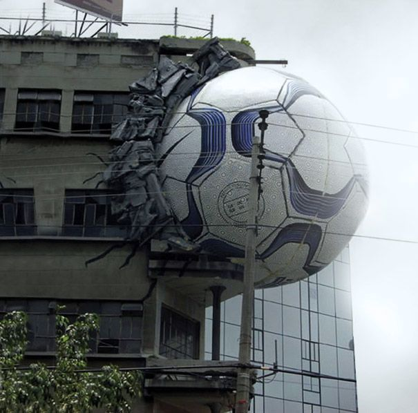 Building as media -  Nike Football - an idea I had for a Latin American Football campaign, this is Mexico City. (gold winner at Cannes). (Nike Planning Director for US and Latin America at Wieden+Kennedy)