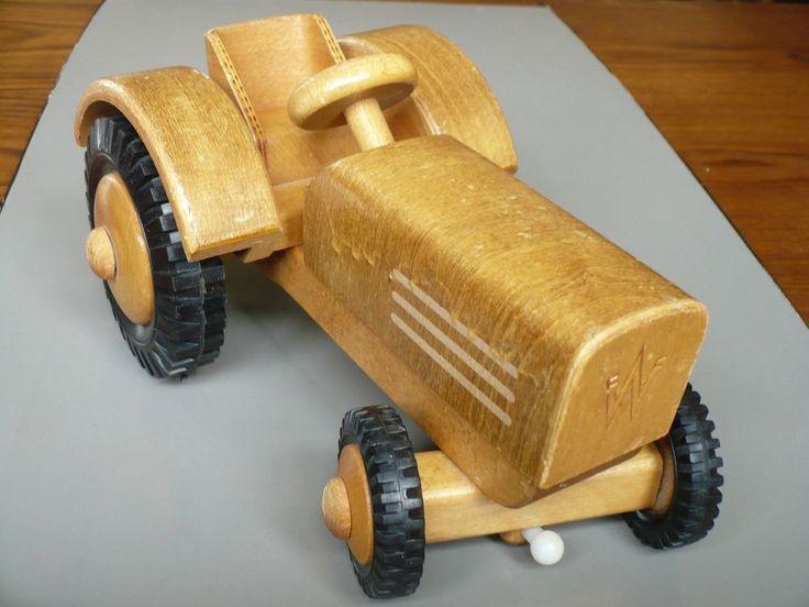 Vintage Wood Toy Tractor FWF Friedrich Frobel Werdau GDR East Germany Rare HTF #FWFFriedrichFrobelWerdau