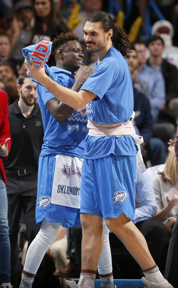 Oklahoma City's Enes Kanter (11) and Anthony Morrow (2) celebrate during the NBA game between the Oklahoma City Thunder and the Minnesota Timberwolves at the Chesapeake Energy Arena, Sunday, Dec. 25, 2016. Photo by Sarah Phipps, The Oklahoman