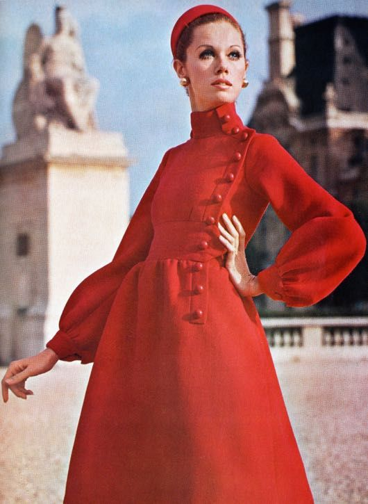 Magdorable! A red crepe dress showing its Cosack inspiration, Jean Patou, Vogue Pattern Book April/May 1969 (N° 2109)