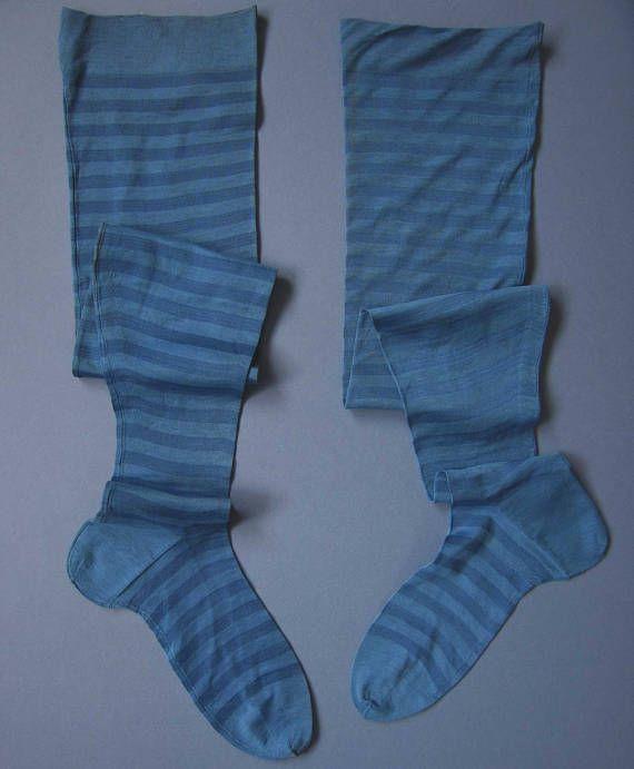 Antique Victorian  Edwardian Stockings Blue Stripes
