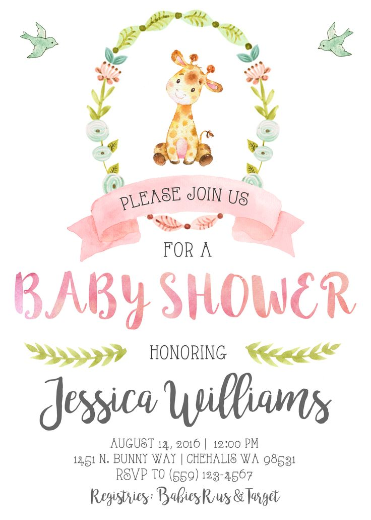 Giraffe Baby Shower Invitation Invite Pastel Watercolor Pink Shabby Chic Vintage