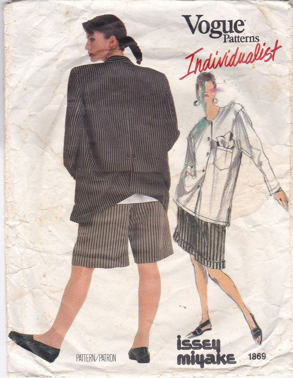 Funky Shirt, Jacket & Shorts - Very Loose Fitting  Vintage Sewing Pattern Vogue Individualist 1869 – Designer - Issey Miyake 1987  Fitting Measurements :  Size 10 Bust 32½ (83cm) Waist 25 (64cm) Hip 34½ (88cm)  Pattern Description :  Misses Jacket, Shirt & Shorts.  Very loose fitting, unlined to below hip jacket has notched collar, extended shoulders with shoulder pads, low armholes, welt pocket, buttonhole pockets with flap, back slit, back button drape and long two piece sleeves wit...