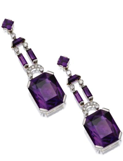 AMETHYST AND DIAMOND JEWELRY, MARZO, PARIS, CIRCA 1930 A pair of pendant-earrings, signed Marzo, Paris, assay marks.