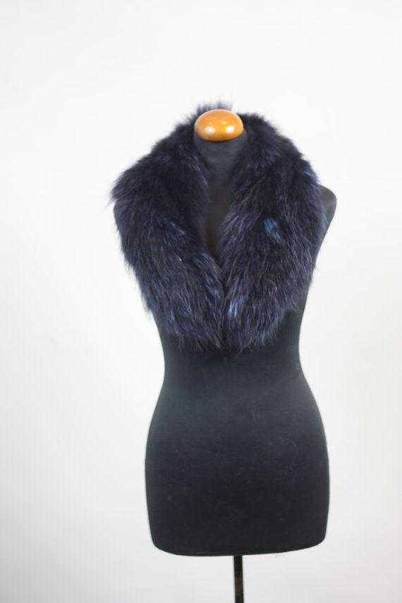 Luxury gift/Racoon Fur/ Blue black Collar  by skffurs on Etsy