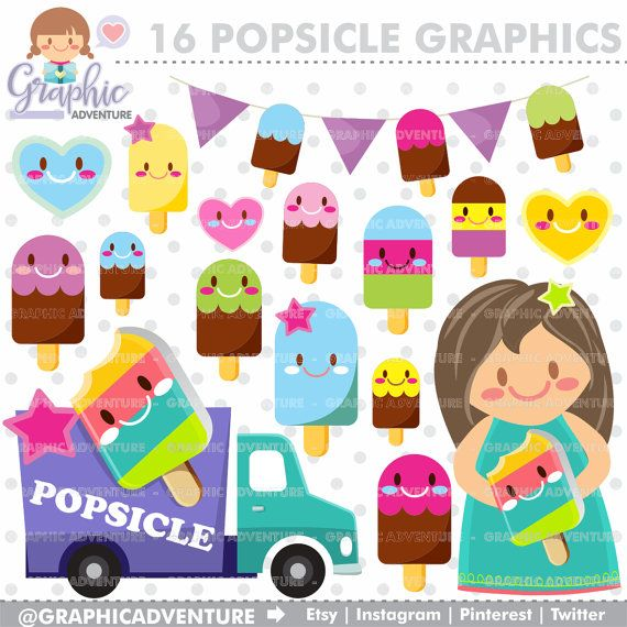 Popsicle Clipart, Popsicle Graphics, COMMERCIAL USE, Kawaii Clipart, Popsicle, Summer Clipart, Planner Accessories, Popsicle Party