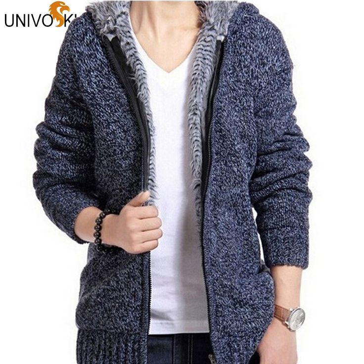 UNIVOS KUNI Men's Warm Sweaters Cardigan Outwear Winter Winter Thick Hooded Warm Knitwear Jacket Fashion Man Knitting THY571