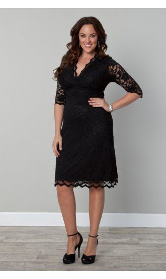 Ladies Plus Size Boudoir Lace Dress in Black by Kiyonna