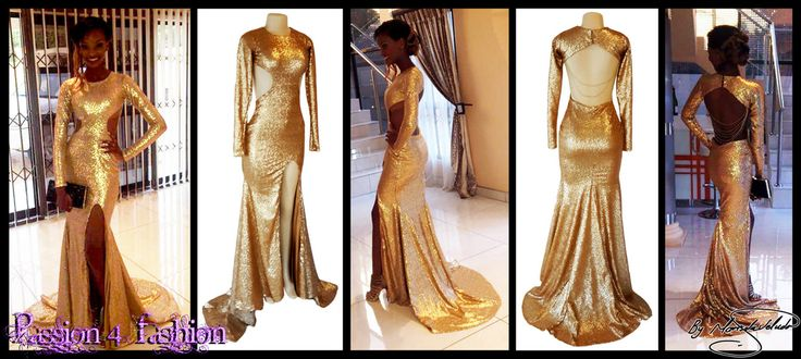 Gold sequins matric dance dress with tummy side openings, an open back, a slit, long sleeves and gold pearly strings hanging from the back.