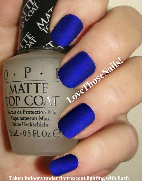 OPI Royal Blue Matte Manicure ~ opi St. Marks The Spot, opi Matte Top Coat Nail Polish With Easy To Follow Instructions
